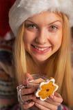 Tonåringflicka i den santa hatten med julkakan Royaltyfri Foto