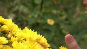 Tonåringflicka som luktar blommor arkivfilmer