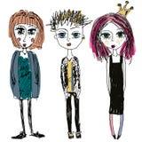 Tonåringgrupp Flickor och pojken för mode skissar unga magra, stil Klotterillustration av punkrock vektor illustrationer
