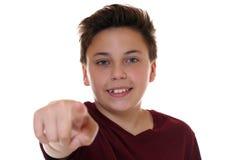 Tonåringpojken gör ett beslut, genom att välja, att söka och att finna Fotografering för Bildbyråer