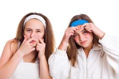 Tonårings begrepp för hudproblem Arkivfoto