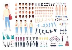 Tonåringteckenkonstruktör Pojkeskapelseuppsättning Olika ställingar, frisyren, framsida, lägger benen på ryggen, händer, kläder,  stock illustrationer