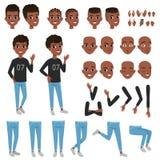 Tonåringteckenkonstruktör Svarta separata delar för pojke s av kropp, olika framsidauttryck och frisyrer isolerat royaltyfri illustrationer