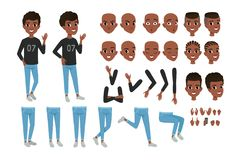 Tonåringteckenkonstruktör Svarta separata delar för pojke s av kropp, olika framsidauttryck och frisyrer isolerat stock illustrationer