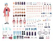 Tonåringteckenkonstruktör Ung moderiktig flickaskapelseuppsättning Olika ställingar, frisyr, framsida, ben, händer stock illustrationer