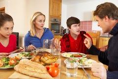 Tonårs- familj som har argument Fotografering för Bildbyråer