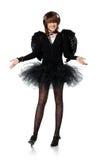 Tonårs- flicka i dräkt av den svarta ängeln Royaltyfri Bild
