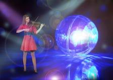 Tonårs- flicka med altfiolen Royaltyfria Bilder
