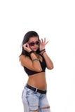 Tonårs- flicka med solglasögon Arkivbild