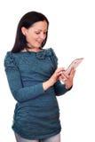 Tonårs- flicka med tabletPC Arkivfoto