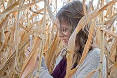 Tonårs- flicka med telefonen i cornfield Fotografering för Bildbyråer
