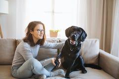 Tonårs- flicka som inomhus sitter på en soffa och att spela med en husdjurhund arkivfoto