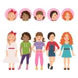 Tonårs- flickor med avatarsymbolsuppsättningen royaltyfri illustrationer