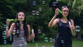 Tonårs- flickor som blåser såpbubblor i sommartid stock video