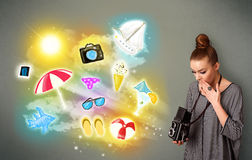 Tonårs- fotografdanandefoto av ferie målade symboler royaltyfri illustrationer