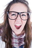 tonårs- gullig geek för brunett Arkivbild
