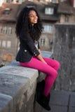 tonårs- härlig flicka för afrikansk amerikan Fotografering för Bildbyråer