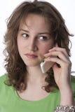 tonårs- mobil telefon för flicka Fotografering för Bildbyråer