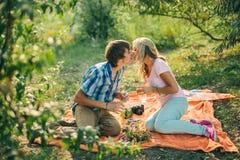 Tonårs- par som kysser på picknick Royaltyfri Foto