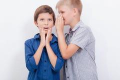 Tonårs- pojke som viskar i örat en hemlighet till Royaltyfri Fotografi