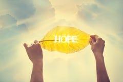 Ton de couleur de vintage, tenant une feuille jaune dans le ciel de l'espoir Images stock