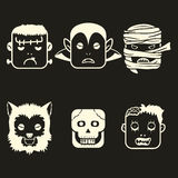 Ton des Halloween-Charakter-Gesichts-zwei Stockbilder