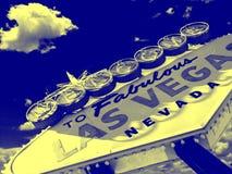 Ton jaune bleu de duo de signe de Las Vegas images libres de droits