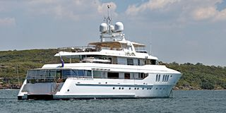 A 90-ton plus, luxury cruising motor Superyacht at anchor in Sydney`s North Harbour. A fully equipped Australian 45 meter 90 ton plus, luxury cruising motor Royalty Free Stock Images