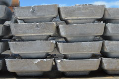 Ton of primary aluminum ingots Royalty Free Stock Image