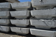 Ton of primary aluminum ingots Royalty Free Stock Images