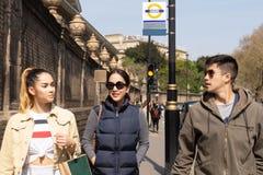 Ton?rigt g? f?r lycklig moder och f?r blandat lopp p? gatan i sommar royaltyfria bilder