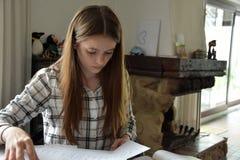 Ton?rs- flicka som g?r hennes matematikl?xa royaltyfria bilder