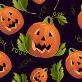 Ton sans couture d'obscurité de fond de potirons de Halloween Photographie stock