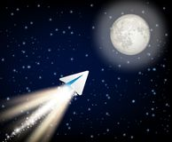 Telegram cryptocurrency flying to the moon like space rocket vector illustration stock illustration