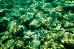Ton vert et bleu de fond rocheux sous-marin Photographie stock