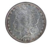 Tonad amerikansk silverdollar som isoleras på vit Arkivbild