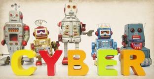 Tonad bild för Cyber robotar Arkivbilder