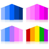 Tonal houses. Concept illustration showing houses with different tones, depending on occupants: male or female, heterosexual or homosexual relationships Stock Photography
