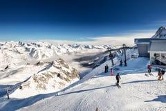 TONALE, ITALY - Jan 20, 2018 - Stunning winter panorama in Tonale ski resort. View of Italian Alps from Adamelo Glacier, Italia, E. Urope stock photos