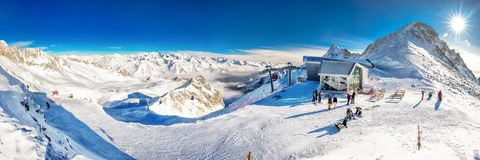 TONALE, ITALY - Jan 20, 2018 - Stunning winter panorama in Tonale ski resort. View of Italian Alps from Adamelo Glacier, Italia, E. Urope royalty free stock photography