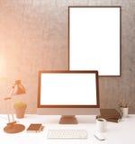 Tonalità in bianco del monitor Fotografia Stock