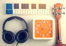 Tonalità d'annata delle attrezzature portatili di musica Fotografia Stock Libera da Diritti