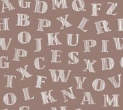 Tonalità inglese delle lettere del bianco, fondo, senza cuciture, marrone, grigio, vettore Fotografia Stock