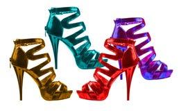 Tonalità luminose delle scarpe delle donne. collage Fotografia Stock Libera da Diritti