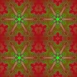 Tonalità rosso scuro e verdi del motivo a stelle regolare illustrazione vettoriale
