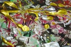 Tonalités foncées d'or rouge vert blanc jaune rose argenté de peinture, fond abstrait Photographie stock libre de droits