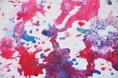 Tonalités violettes aléatoires de scintillement, taches cireuses, peinture d'aquarelle, tonalités colorées Photographie stock libre de droits