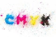 Tonalizador da cor de CMYK para o amarelo magenta ciano da impressora fotografia de stock royalty free