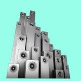 Tonanlage des Sprechers 3d im Silber über Blau Lizenzfreies Stockfoto