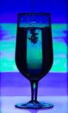 Tonat exponeringsglas av champagne med färgstänk av flytande på abstrakt suddig bakgrund Royaltyfri Fotografi